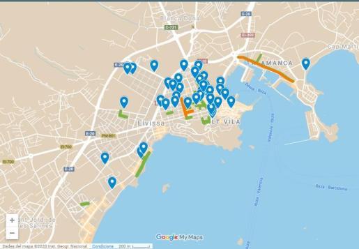 Mapa de los aparcamientos para bicis.