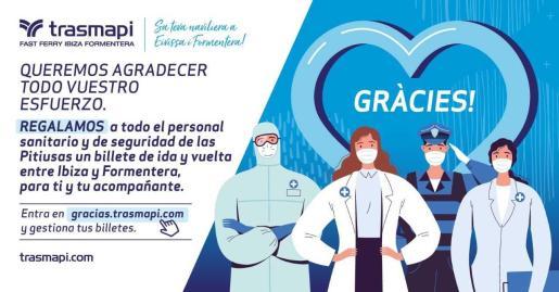 Trasmapi regala más de 2.000 trayectos entre Ibiza y Formentera al personal sanitario y de seguridad