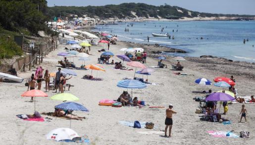 Una imagen del estado de una playa de Ibiza este domingo.