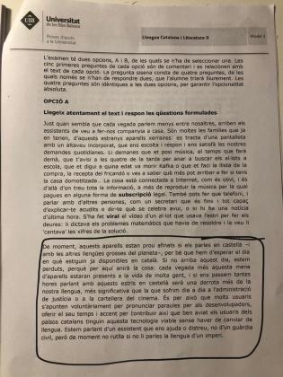 Imagen del texto de la polémica incluido en el examen de selectividad de catalán.