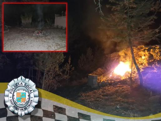 Imagen facilitada por la Policía Local de Sant Josep. Incendio de rastrojos en un terreno de Sant Josep.