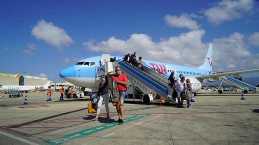 El avión de TUI en Mallorca.