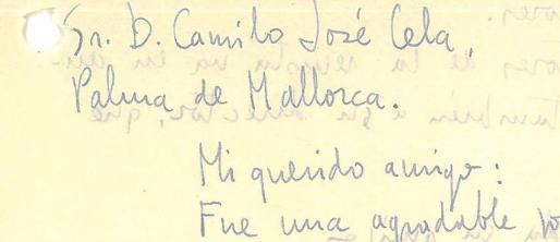 Parte de la misiva enviada por Marià Villangómez a Cela.
