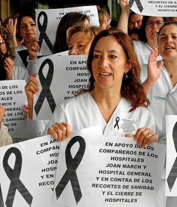 Una protesta contra los recortes en sanidad en 2012.