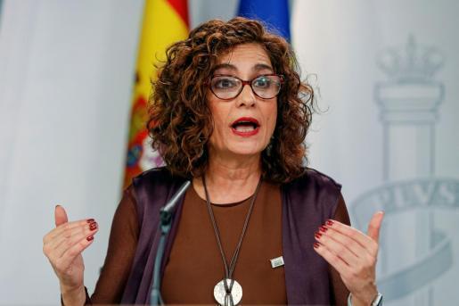 La Ministra de Hacienda, María Jesús Montero, en una rueda de prensa.
