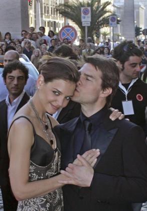 Los actores Katie Holmes y Tom Cruise.