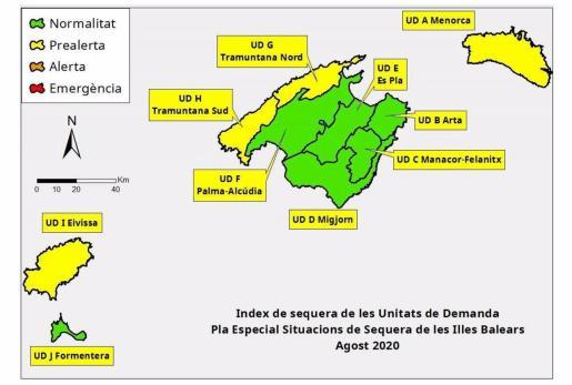 Las reservas hídricas de Baleares se situaron en el 62 por ciento en agosto, cinco puntos por debajo del mes anterior.
