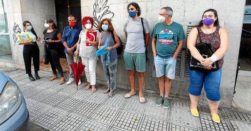 La Junta de personal docente no universitario de Ibiza y Formentera ayer antes de la rueda de prensa en Ibiza.