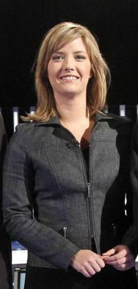 La periodista María Casado antes del comienzo de un debate en TVE.