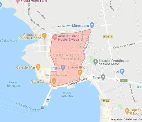 Casi todo el casco urbano de Sant Antoni, afectado. Salvo cambios de última hora, casi todo el casco urbano de Sant Antoni, tal como aparece grafiado en una imagen extraída del Google Maps, se verá afectado por las nuevas restricciones del Govern.