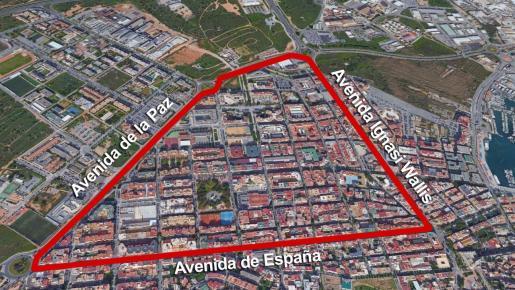 Mapa de la zona de Ibiza afectada por las restricciones.