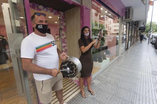 Una imagen de la protesta llevada a cabo hoy en Ibiza.