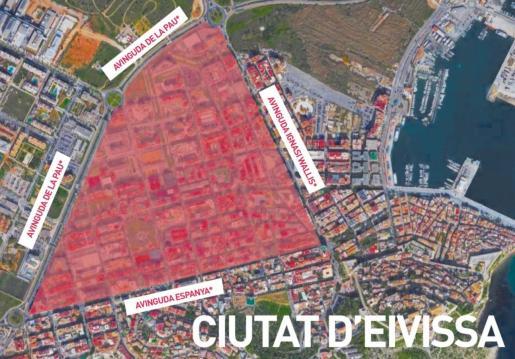 Mapa de la zona afectada de la ciudad de Ibiza.