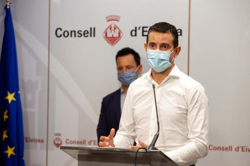Marcos Serra, durante la rueda de prensa del miércoles en el Consell de Ibiza.