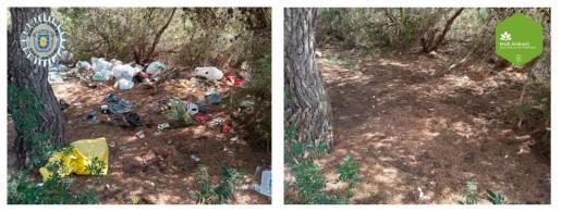 Una zona de residuos en sa Talaia.