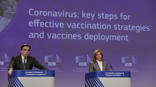 Rueda de prensa en Bruselas sobre el coronavirus.