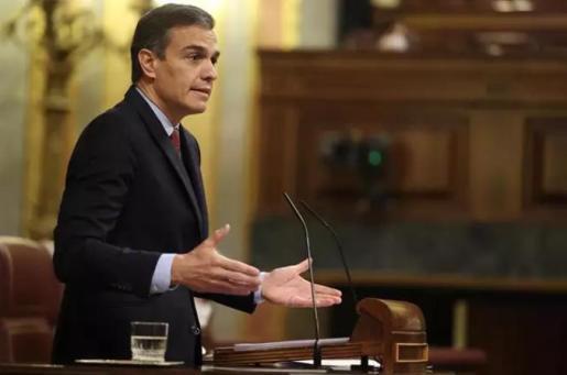 El presidente del Gobierno, Pedro Sánchez, durante el debate de la moción de censura planteada por Vox en el Congreso de los Diputados.