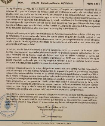 Esta es la instrucción que emitió el jefe de la Policía Local de Palma.