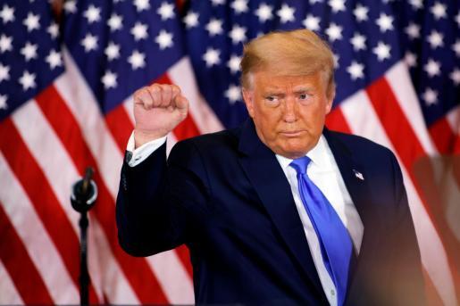 Donald Trump habla en la noche electoral de Estados Unidos.