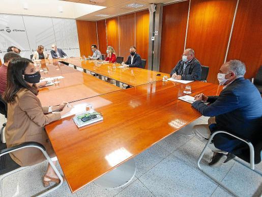 Joan Torres (abajo a la derecha) representó a Sant Antoni en la reunión con el Consell y el Govern.