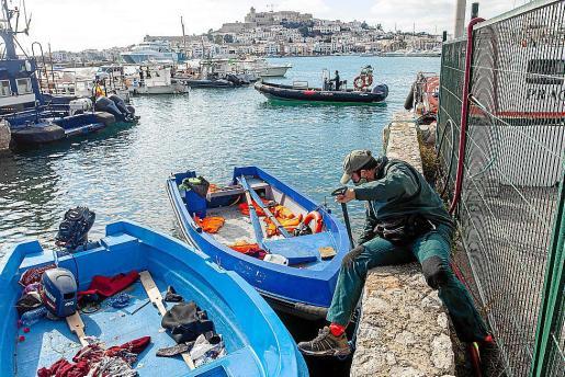 Algunas de las pateras llegadas a Ibiza esta semana.