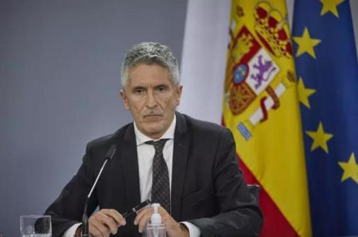 El ministro del Interior, Fernando Grande-Marlaska, durante una rueda de prensa en Moncloa.