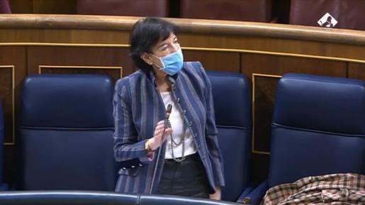 La ministra de Educación y FP, Isabel Celaá, en el Pleno del Congreso de este miércoles.