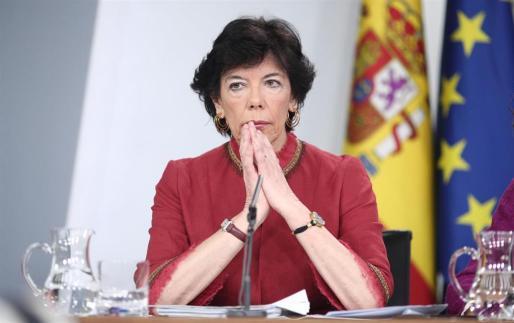La ministra de Educación y Formación Profesional, Isabel Celaá, este martes en la rueda de prensa tras el Consejo de Ministros donde se ha aprobado la reforma educativa.