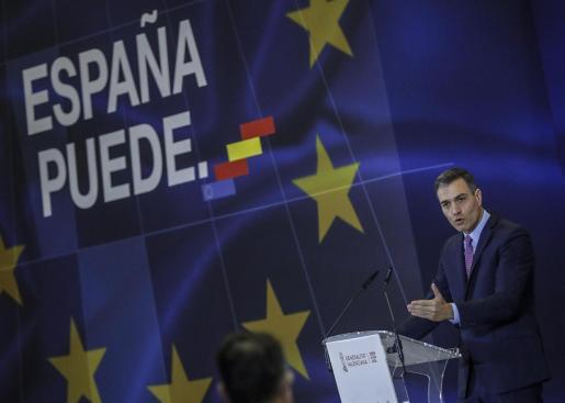 El presidente del Gobierno, Pedro Sánchez, interviene en el acto de presentación del Plan de Recuperación, Transformación y Resiliencia de la Economía Española en la Ciutat de les Arts i les Ciències de Valencia, Comunidad Valenciana.