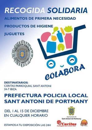 La Policía Local de Sant Antoni inicia en diciembre una campaña solidaria de recogida de alimentos y juguetes.