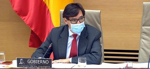 El ministro de Sanidad, Salvador Illa, en su comparecencia en la Comisión de Sanidad y Consumo del Congreso de los Diputados para informar sobre la evolución de la pandemia de COVID-19.