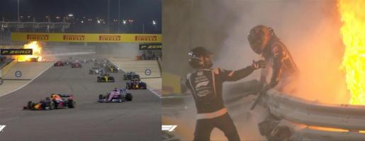 El piloto Romain Grosjean, fuera de peligro tras sufrir un gravísimo accidente en el Gran Premio de Baréin.