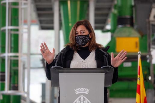 Francina Armengol, este jueves dureanta la inauguración de la planta de triaje de Ibiza.