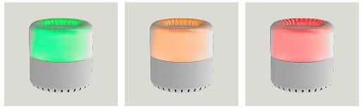 El dispositivo Airea cambiará de color cuando haya que ventilar la habitación.