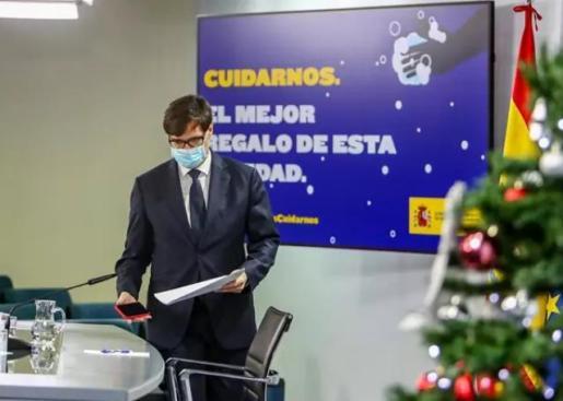 El ministro de Sanidad, Salvador Illa, ofrece una rueda de prensa desde la Secretaría de Estado de Comunicación, en Madrid (España), a 18 de 2020. -