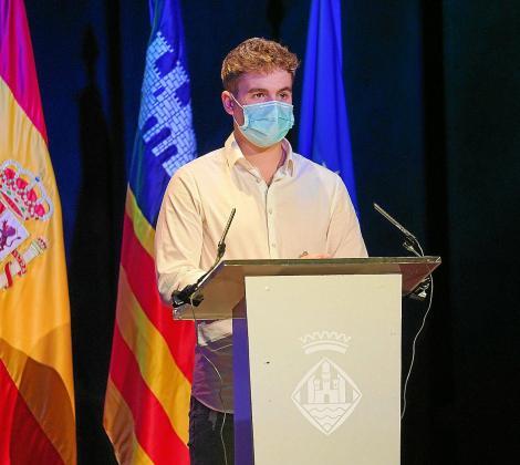 Jonás Souto, durante su discurso tras ser nombrado mejor deportista de Ibiza.