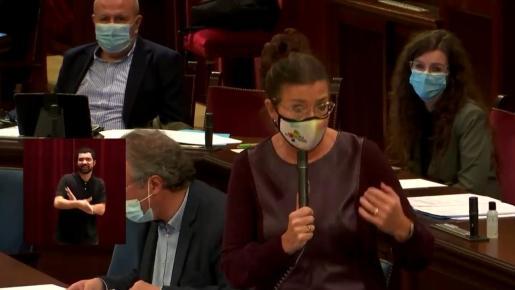 La consellera Patricia Gómez, ayer, durante el pleno.