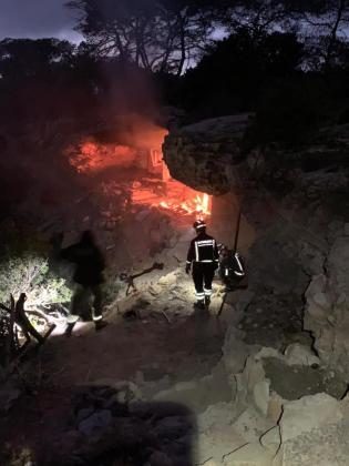 Una de las imágenes del incendio en la cueva.