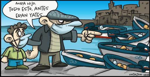 Una viñeta sobre la llegada de pateras a la isla de Ibiza.