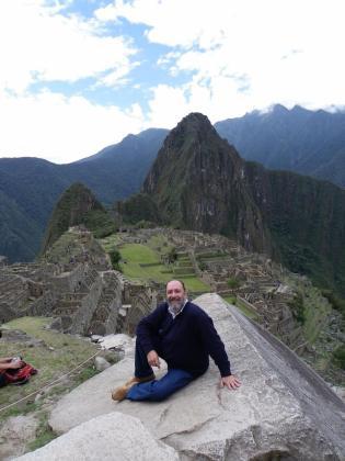 Fernández durante el viaje que realizó para visistar el Machu Pichu, en Perú.