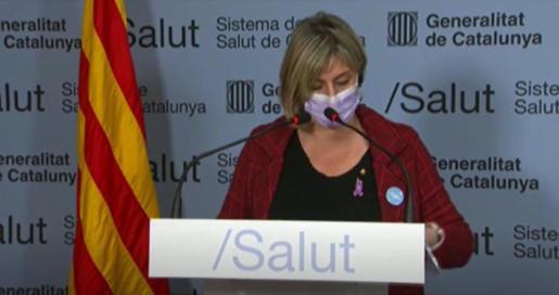 La consellera de Salud de la Generalitat, Alba Vergés, en rueda de prensa telemática.