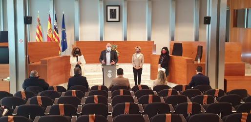 Rueda de prensa en la sede del Consell de Ibiza.