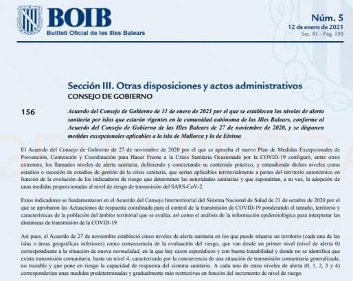 El BOIB publica las nuevas restricciones que afectan a Mallorca e Ibiza.