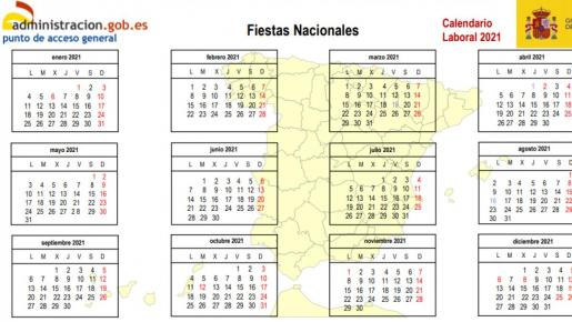 Calendario laboral de España para el año 2021.