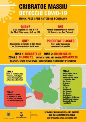 Cartel informativo del cribado masivo en Sant Antoni.