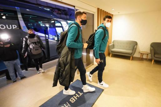 La llegada de jugadores del Athletic Club al hotel.