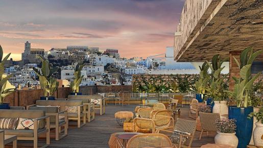 Imagen promocional del diseño de la terraza del nuevo hotel (los antiguos Apartamentos El Puerto), que cuenta con una espectacular vista a Dalt Vila.