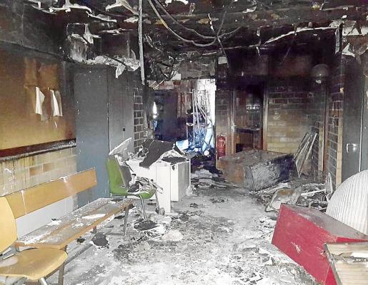 Estado en el que quedó la planta segunda del Juzgado tras el incendio del 21 de enero de 2019.