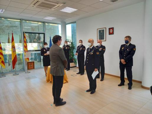 Ceremonia de juramento celebrada ayer en la comisaría de Ibiza.