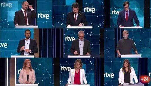 Los candidatos, en el debate de RTVE.